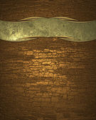 Gold metal plate with wood texture. Design template — Stockfoto