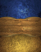 Abstract blue texture with scuffed and wood plate — Stockfoto