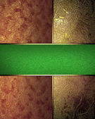 Red texture and red gold with a green stripe. Design template — Stockfoto