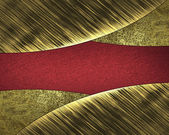 Abstract background of gold leaf and red cutout — Stock Photo