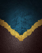 Grunge blue background with a brown texture with gold trim — Stock Photo