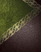 Brownish green background with gold ribbon — Stock Photo