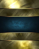 Gold background with scratched gold plate and blue ribbon. — Stock Photo