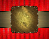 Background red abstract wallpaper in point with gold nameplate with gold trim. Design template — Stock Photo