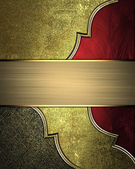 Gold background with scuffed, with red cutouts, gold trim — Stock Photo