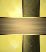 Yellow background with dark cutout and gold ribbon — Stock Photo