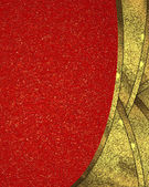 Red background with gold gold dot, with abstract boundary layers of gold. Design template. Design site — Photo
