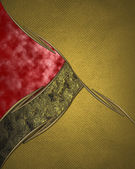 Gold background paper with vintage grunge texture and graceful curved red and black ribbon. Design template. Design site — Stock Photo