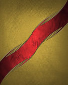 Gold background paper with vintage grunge texture and graceful curved red ribbon. Design template. Design site — Stock Photo