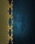 синий абстрактный фон с золотой узор на краю. шаблон оформления. дизайн сайта — Стоковое фото