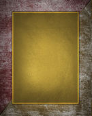 Grunge red and yellow texture with gold plate. Design template Design site — Stock Photo