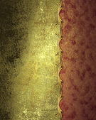 Grunge gold metallic leaf with red slit. Design template. Design site — Stock Photo