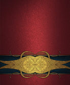 Red background with blue ribbon with gold pattern. Design template. Design site — Photo