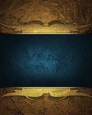 Gold abstract background with a blue nameplate with golden pattern. Design template. Design site — Stock Photo