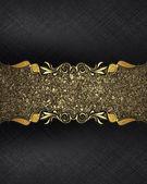 Čalounění černé pozadí s vývěsní štít pro text zlatého písku se zlatem. návrh textu. design pro web — Stock fotografie