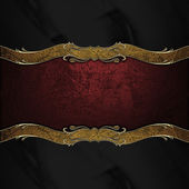 Black background with a red sign with gold trim. Design template. Design site — Stockfoto