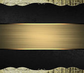 Abstract black background with gold edges with gold trim and gold ribbon. Design template. Design for site — Stock Photo