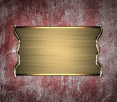 Grunge red wall with gold nameplate. Design template Design site — Stock Photo