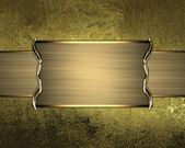 Grunge gold wall with gold nameplate. Design template Design site — Stock Photo