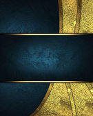 Abstract blue background with gold accents and blue sign. Design template. Design site — Stock Photo