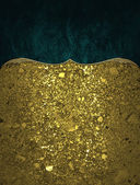 Texture of golden sand with blue inset with gold border. Design template. Design site — Stock Photo