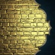 Background of golden bricks with blue edge with gold trim. Design template. Design site — Stock Photo #49611573