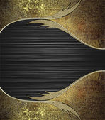 Abstract black background with the edges of the old metal finish. Design template. Design site — Foto Stock