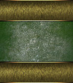 Green grunge background with golden edges. Design template. Design site — Stock Photo