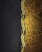 Abstract black background with gold and gold ribbon. Design template. Design site — Stock Photo