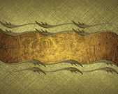 Gold background with grunge gold ribbon with gold trim. Design template. Design site — Foto de Stock