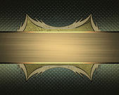 Abstract green background with gold frame from gold edges and gold ribbon. Design template. Design site — Stock Photo