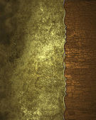 Grunge gold background with the edge of the wood. Design template. Design site — Stock Photo
