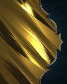 Gold background with a blue edges. Design template. Design site. — Foto Stock
