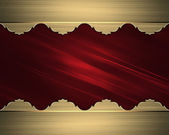 Abstract red background with gold edges. Design template. Design site — Stock Photo