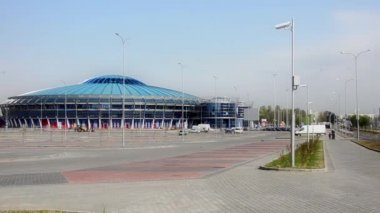 MINSK, BELARUS Timelapse view of Minsk Chizhovka Arena Complex. The second arena of the 2014 World Cup Hockey. April 23, 2014 in Minsk, Belarus. — Video Stock