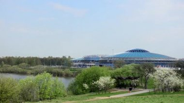 MINSK, BELARUS Timelapse view of Minsk Chizhovka Arena Complex. The second arena of the 2014 World Cup Hockey. April 23, 2014 in Minsk, Belarus. — Stockvideo
