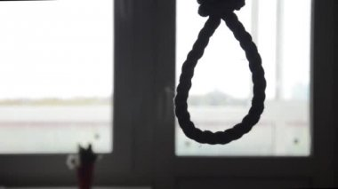 Suicide, depressed man, gallows noose around his neck — Stock Video