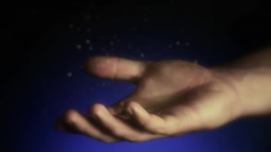 Magical particles. Open hands of a man. Holding, giving, reaching, taking concept. — Stok video