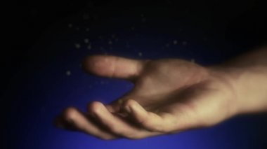 Magical particles. Open hands of a man. Holding, giving, reaching, taking concept. — Vídeo Stock