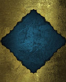 Grunge gold background with blue cutout. Design template. Design site — Stock Photo