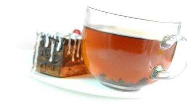 Cake with tea — Stock Video