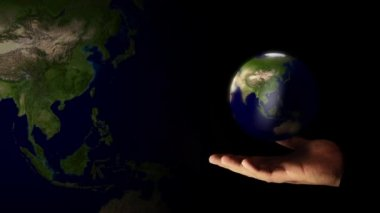 Card template planet earth. Earth rotating in hand — Stock Video