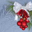 Christmas decorations on a winter background — Stock Photo