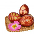 Easter eggs dyed with onion skin - Stock Photo