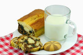 Milk with marble cake and cookies — Stock Photo