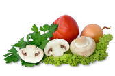 Fresh mushrooms with vegetables — Stock Photo