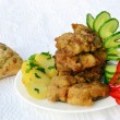 Wiener Schnitzel with potato salad — Stock Photo