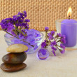 Candle and purple flowers — Stock Photo