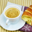 Coffee with croissant — Stock Photo