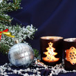Christmas decorations on dark blue — Stockfoto